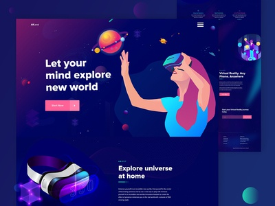 Virtual Reality Landing Page 2019 trends vr landing page ar vr virtual reality clean corporate illustration uiux landing page ui