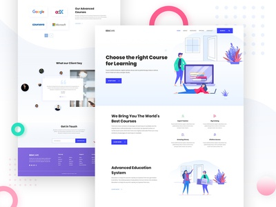 Online Course Landing Page creative e-learning company minimal homepage agency app new website 2019 typography teach gradient author clean website ui ux illustration landing page online course online school
