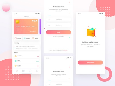 E- Wallet App light 2019 trend creative clean gradient logo corporate design illustration branding app interaction landing page ui ux ios crypto wallet crypto trading financial app wallet app e walltet