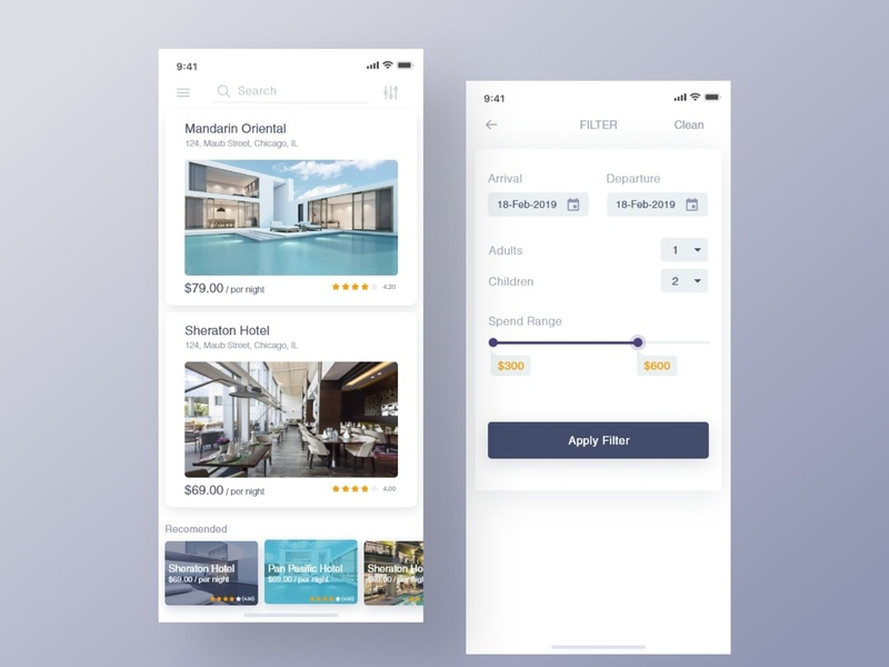 Hotel Booking App - 1 rent room card tracking app travel app interaction animation mobile app ui  ux dailui minimal flat 2019 trends new add app ios clean hotel booking booking app