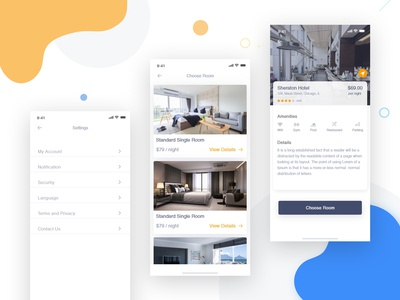 Hotel Booking App - 2 dailyui logo typography app interaction 2019 trend clean ux ui ios schedule payment mobile app illustraiton hotel booking app dashbaord credit card calendar buttons booking app animation