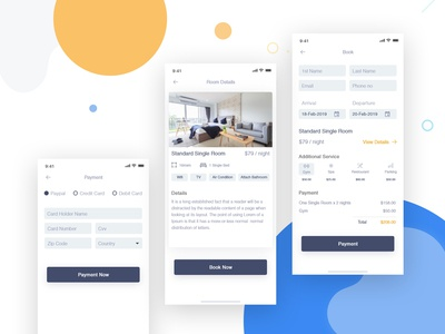 Hotel Booking App - 3 schedule hotel app tracking app booking app app landing page app icon typography ios dailyui mobile website uiux branding illustration logo clean app interaction ux ui