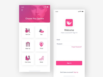 Salon App - 1 appointment booking app beauty salon app beauty app pink trend 2019 new add mobile ios design clean dailyui logo typography app interaction ux ui app animations salon app