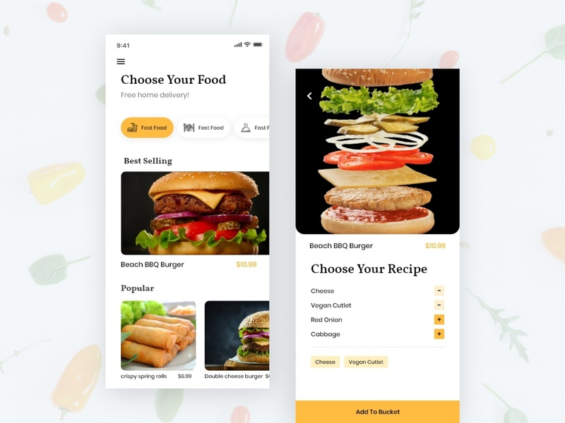Food Delivery App yellow restaurant cafe meal search trend 2019 typography dailyui clean app interaction ui ux graphic button cart ios app burger delivery app food app