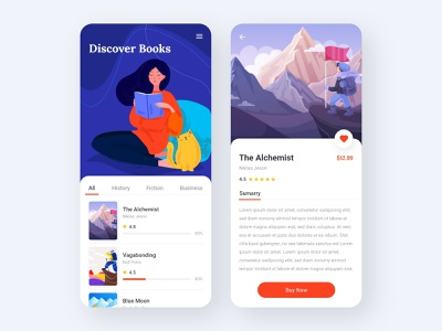 Book Store App app interaction ui ux podcast ebook audiobook onboarding course app learning app clean illustraion store app store reading books education app book reading