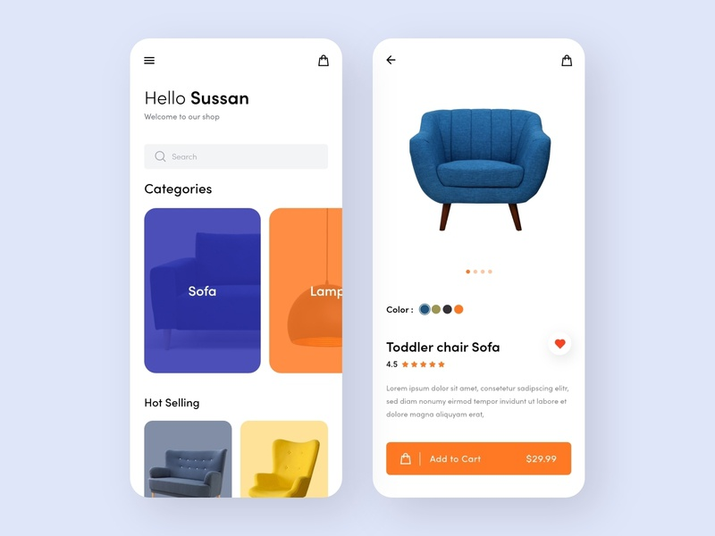 Mobile App - Online Store bold color illustration e-shop shopping cart sofa store app product modern minimal ux ui clean trendy shop shopping app furniture store e-commerce ecommerce ios app
