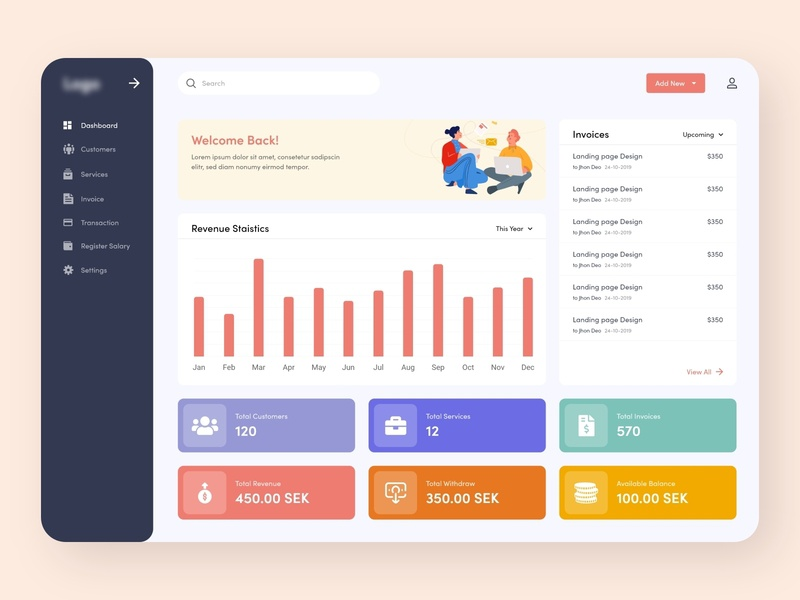 Invoice Service Dashboard clean design website dailyui calendar interface self employed admin panel illustration modern clean ui ux ui design dashboad payment crm software invoice