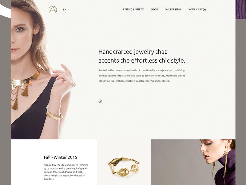 Arghenoia eCommerce fashion jewelry main inspiration interface design web ux ui