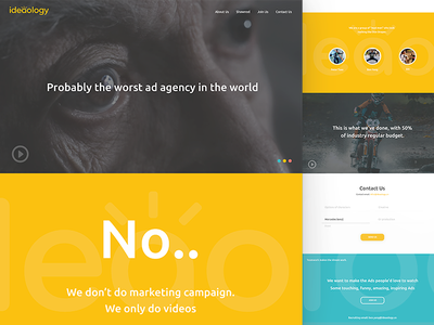 ideaology landing page web ui ux promo viral video agency
