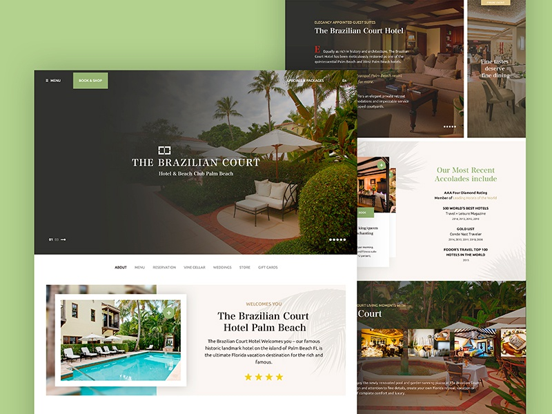 The Brazilian Court Hotel florida green court beach palm miami webdesign ux ui web