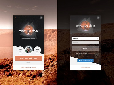 Moon of Mars logo online macos iphone interface web catalog login ux ui ios app