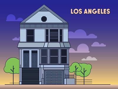 Los Angeles пейзаж цвет чистый здание дом архитектура городской пейзаж флет закат дизайн изобразительное искусство