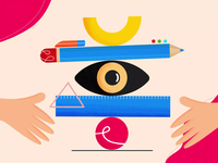 Balanced Design Process shapes ruler rubber rubber gum pencil animation motion visual illustration design art design