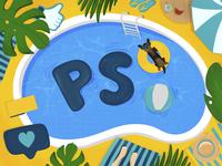 Summer pool with dog enjoying the sun sun plant ball dogs procreate illustration chill swimming watermelon like marketing summer pool dog