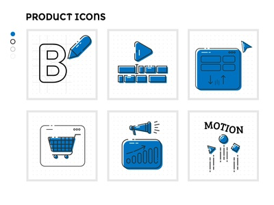 Product set icons logo design graphic design web develop motion graphic marketing ecommerce icons