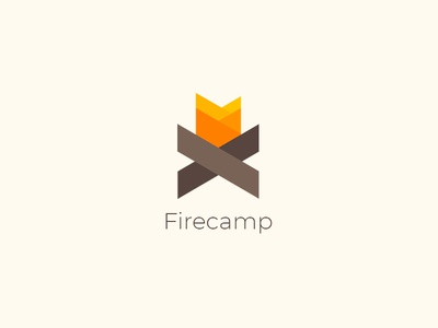 Firecamp Logo Design wood flame branding illustration design simple logo firecamp fire logo