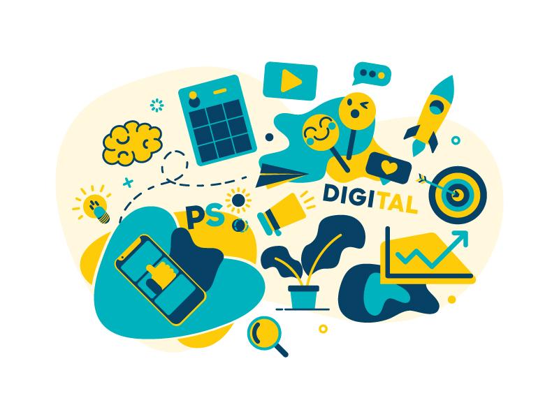 Marketing Illustration PS:DIGITAL vector marketing campaign instagram facebook strategy marketing agency digital social marketing