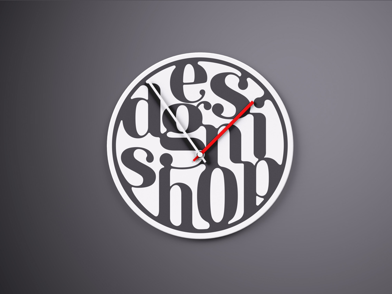 Typography Clock flat icon calligraphy vector lettering illustration fonts typography logotype logo branding design