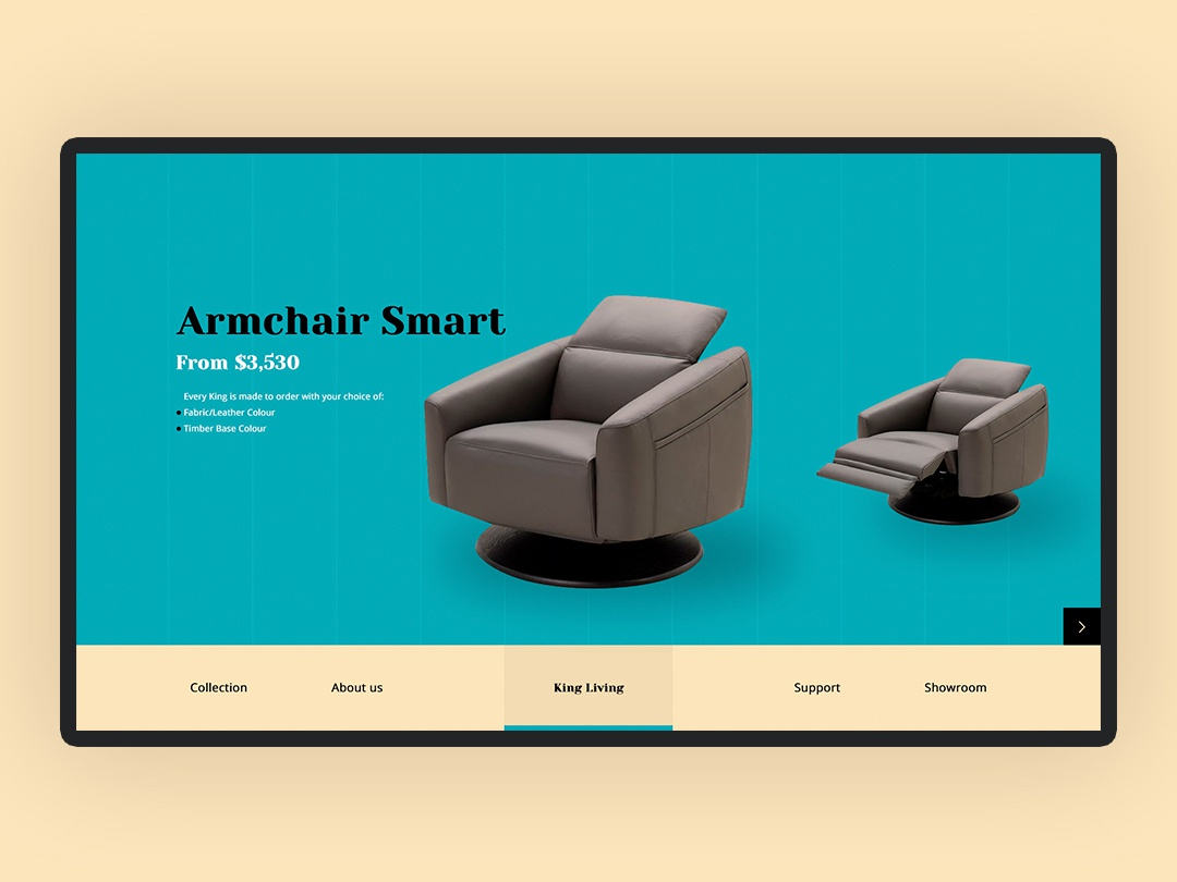 Website Furniture King Living uiux webdesign web icon typography ux ui design