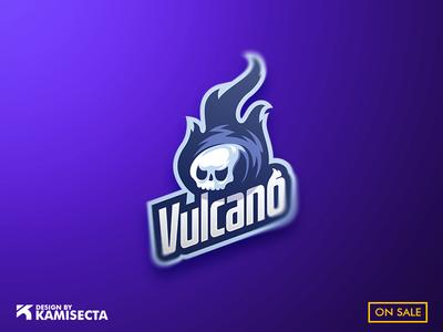 Vulcano mascot logo skull logo skulls vector illustration team streaming design branding esports premade vulcano mascot logo vulcan
