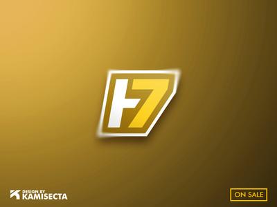 LOGO H + 7 - FOR SALE minimal homepage gaming personal logo streamer brand colors custom design vector hand lettering logo lettermark h7 letter