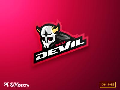 Red Devil logo - FOR SALE logo a day squad forsale esports design mask devil horns devils gaming device red redesign mascot devil logo
