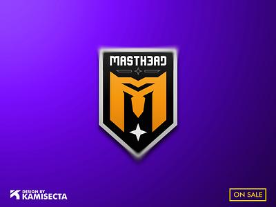 MASTHEAD logo - FOR SALE illustration orange logo branding team robotic androide gaming robot design m logo mascot esports logo