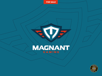 MAGNANT gaming - FOR SALE logo a day branding vector design shield escudo squad letters esports gaming wings emblem logo