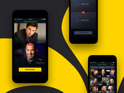 That Movie With - iPhone app minimal actor movies match product ui design iphone app