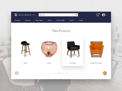 Designer Inc - Designer Furniture Marketplace responsive web app ecommerce minimal ux website ui design marketplace