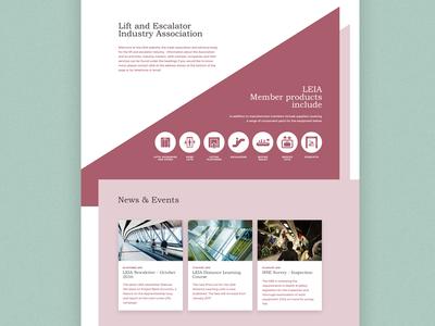 LEIA - Lift and Escalator Industry Association uk leia minimal landing page home page website ui design