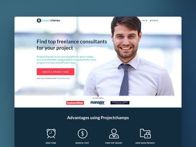 Projectchamps - Job Portal clean minimal design landing page job portal freelance website ui design