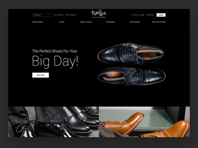 TSM&CO - The Shoe Maker wedding black clean minimal store shoe website design ui dark online store ecommerce