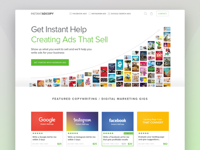 Instant AdCopy - Get instant Help Creating Ads That Sell messi image collage ui landing page instagram graphic design google facebook copy-writing ads