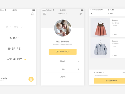 Kide iOS ui ux fashion shop minimal ios interface ecommerce mobile