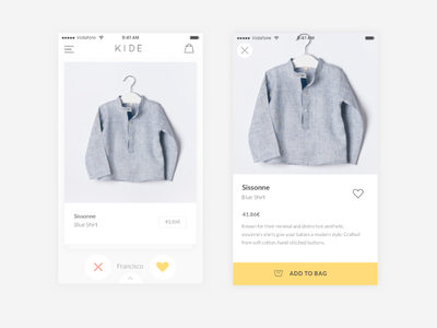 Product Detail View magazine e-commerce clean minimal ios app mobile fashion ux ui swipe