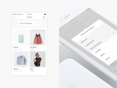 Categories & filters on mobile magazine e-commerce clean minimal ios app mobile fashion ux ui