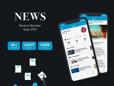 News & Reader Mobile App UI Kit mobile news app mobile reader app news ui news ux reader app sketch news app sketch news app ui ui kit blog app reader app news app