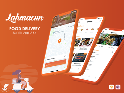 Lahmacun - Food Delivery Mobile App UI Kit mobile app design food delivery ux design food delivery user interface food ui mobile app ui kit food delivery sketch food delivery adobe xd xd ui kit sketch ui kit ui kit delivery app food delivery