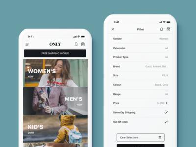 ONLY Fashion Mobile E-Commerce UI Kit