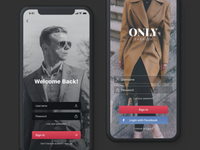 ONLY Fashion Mobile E-Commerce Sign In - Sign Up