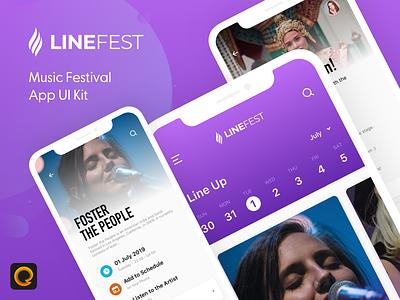 LineFest - Music Festival Mobile App UI Kit app design kit mobile app design scavenger hunt invision studio adobe xd free ui kit free kit app sketch sketch kit ui kit festival app music app