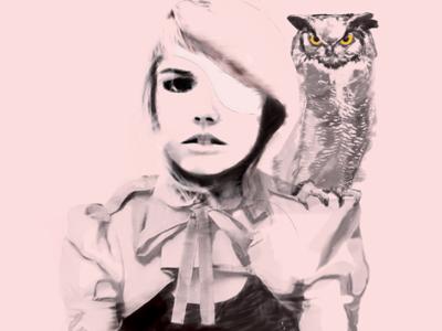 Owl Commander woman owl rough sketch