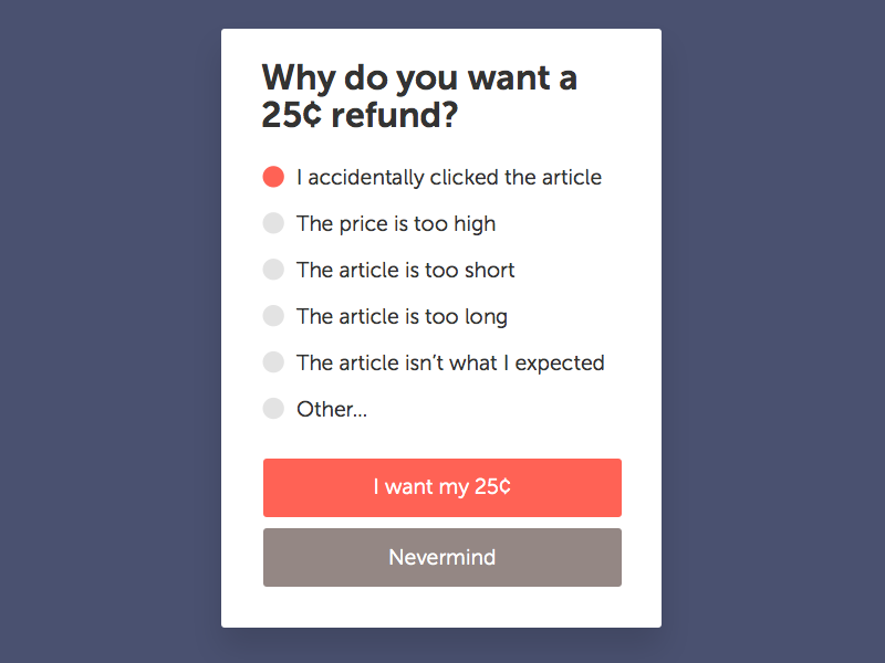 Refund Dialog buttons dialog refund