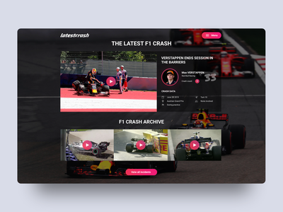 Latestcrash Web Design & Concept racing formula one motorsport ux ui red bull f1 formula 1 flat digital design brand identity identity menu video data statistics web concept web design web