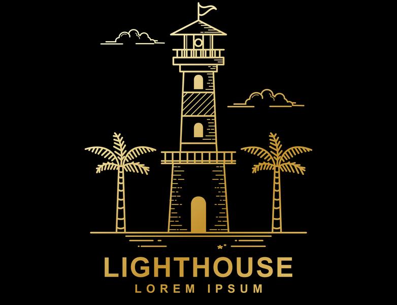 Vector design of lighthouse palm tree tree palm lighthouse line art beach illustration vector outline monoline lineart line design