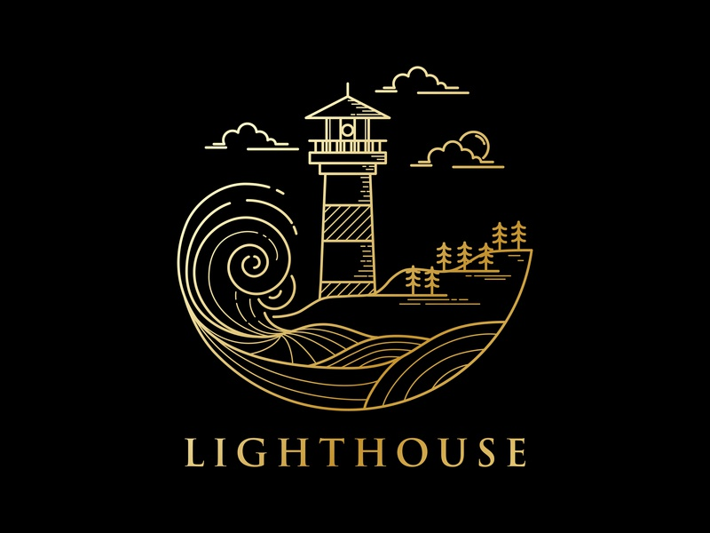 lighthouse logo design coastline sea beach wave lighthouse outline line art monoline lineart line type identity icon branding minimal flat illustration vector design logo