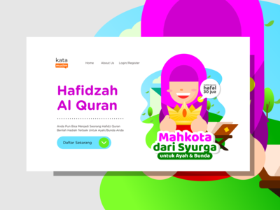Hafidzah Al Quran Illustration Flat Design Website Banner