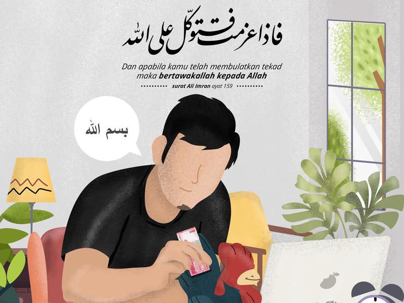 Ada Yang Mengusahakan Mu Hanya Saja Kamu Tidak Tahu flat typography islamic banner design kids illustration vector logo banner