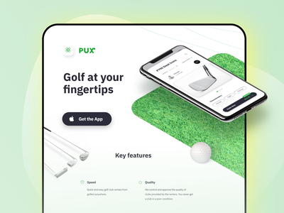 PUX Web branding landing golf web clean ui app